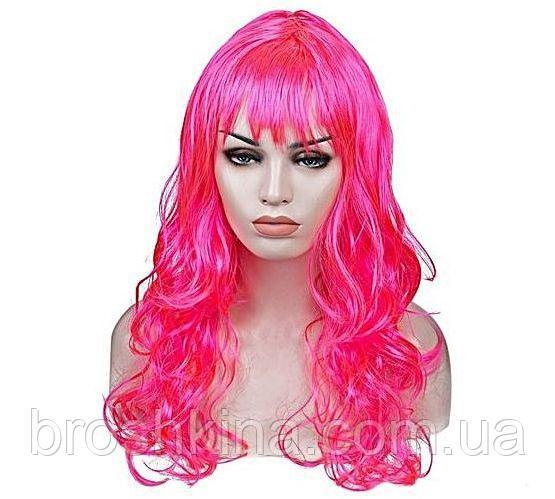 Парик карнавальный волнистый  с челкой L 55 см ярко-розовый