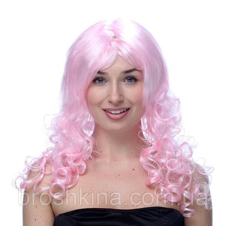 Парик карнавальный волнистый  с челкой L 55 см светло-розовый