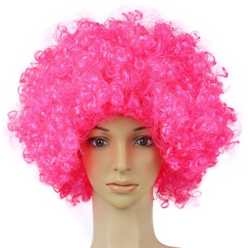Парик кудрявый пышный розовый
