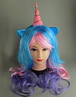 Карнавальный парик Единорог (пони) цветной L 55 см