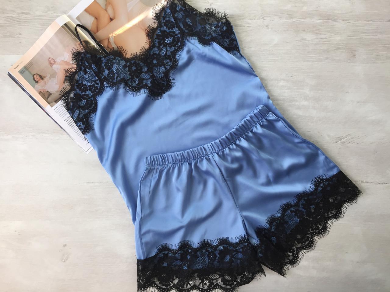 Женская шелковая пижама майка и шорты 002 голубая