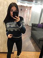 Женский вязаный  свитер с рисунком орнамент,синий.Турция, фото 1