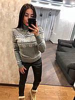 Женский вязаный  свитер с рисунком орнамент,светло серый.Турция, фото 1