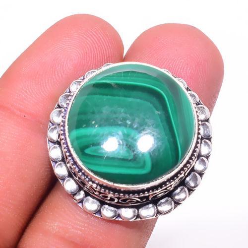 Малахит натуральный 17 размер кольцо с натуральным малахитом в серебре Индия