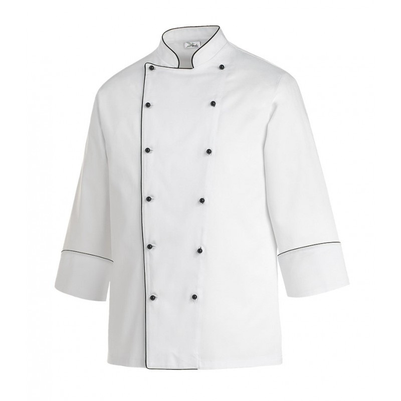Китель повара белый с черным кантом Atteks - 00935