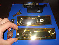 Ручка + замок на раздвижные двери золото, фото 1