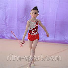 Купальник для художественной гимнастики (украшен стразами, рост 116 - 124 см)