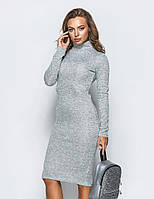 Теплое платье-гольф из ангоры серого цвета