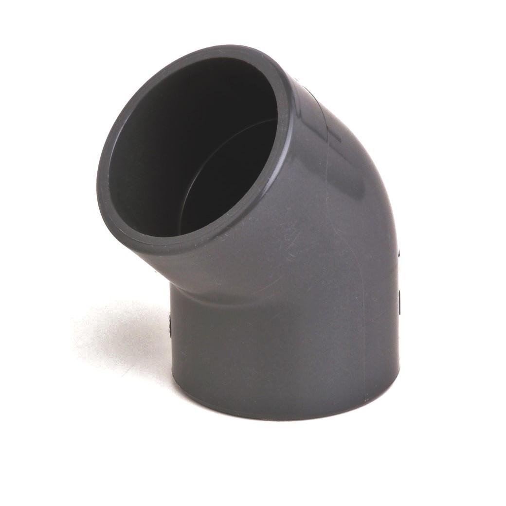 Колено ПВХ Aquaviva 45°/90 мм.