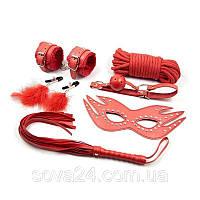 Набор красный Садо-мазо,фетиш,BDSM.БДСМ Плетка, веревка 5 м.,маска,кляп,наручники, ошейник,зажимы на соски.