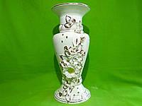 Керамическая настольная ваза «Камелия» лепка белая