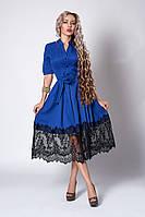 Нарядное платье-рубашка электрик размер:40,46,48,50