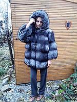 Полушубок из тёмной чернобурой лисицы с укороченным рукавом 7/8 и капюшоном (размер 48-50)