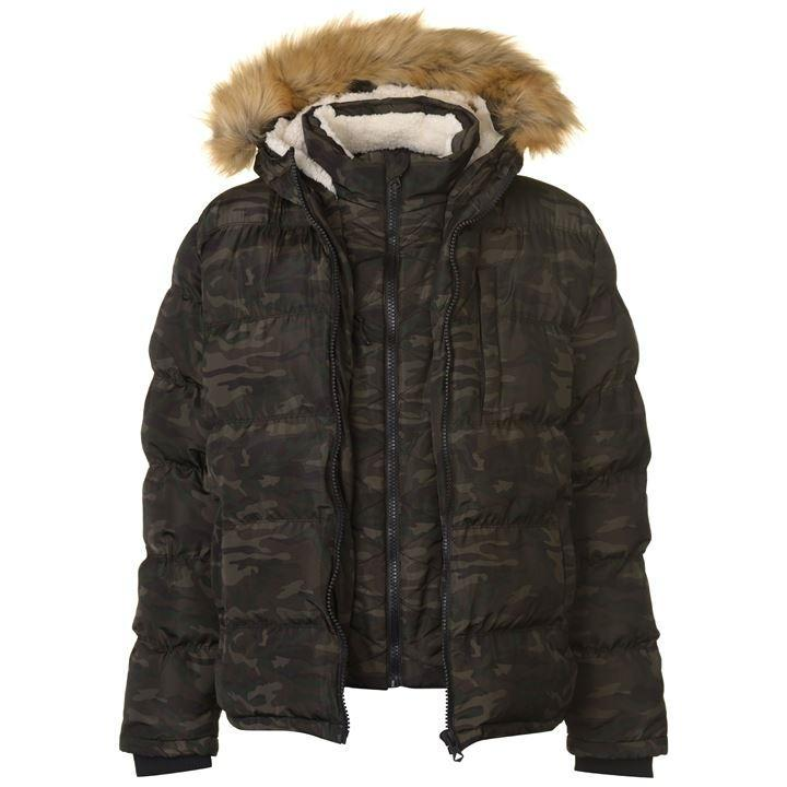 Куртка SoulCal 2 Zip Bubble Jacket Mens