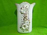 Керамическая напольная ваза «Пазумент» лепка белая