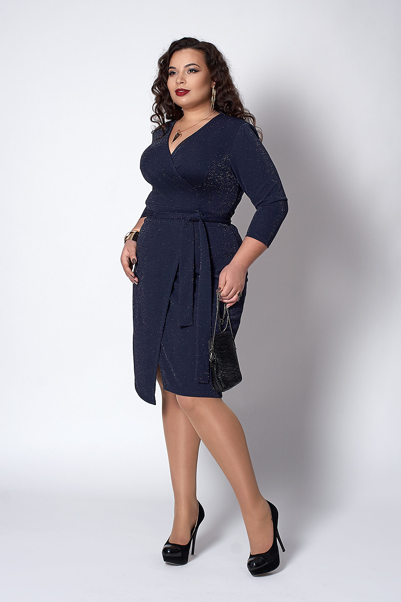 Платье с запахом темно-синее