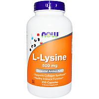 Аминокислоты NOW L-Lysine 500 mg 250 caps, НАУ Лизин 500 мг 250 капсул