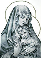 КРВ-62. Схема для вишивки бісером Мадонна і дитя (срібло)