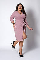 Красивое женское платье с поясом розовое