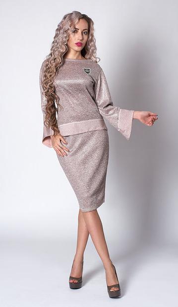 """Красивый костюм """"Фатина"""" размеры 50,52 бежевый"""