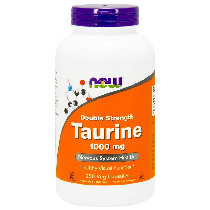 Аминокислоты NOW Taurine 1000 mg 250 veg caps, НАУ Таурин 1000 мг 250 капсул