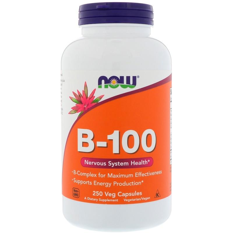 Витамины NOW B-100 250 veg caps, НАУ Б-100 250 капсул