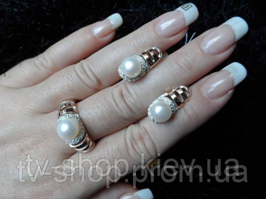 "Кольцо из серебра и золота c жемчугом ""Багира"",р16"