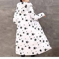 """Зимнее пальто. Парка длинная приталенная белая с принтом """"звезды"""", фото 1"""