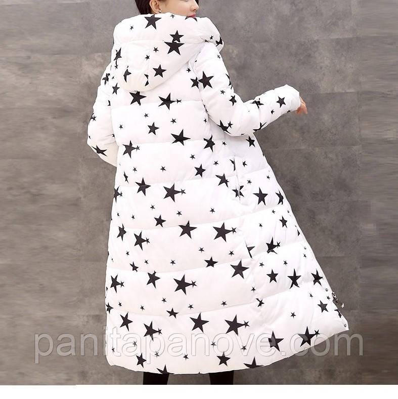 """Зимнее пальто. Парка длинная приталенная белая с принтом """"звезды"""""""
