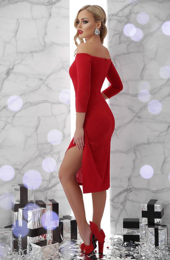 Модное коктейльное платье миди красное, фото 2
