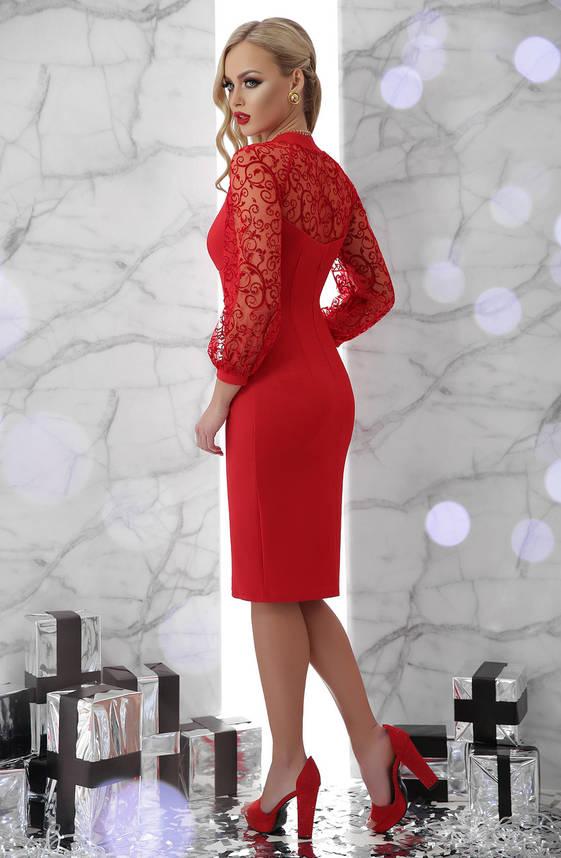Вечернее платье красное с сеткой, фото 2