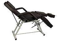 Кресло Кушетка для педикюра косметологическая с раздельной подножкой шоколадная
