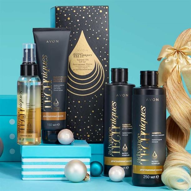 Подарочный набор женский средств для ухода за волосами Avon  «Драгоценные масла»