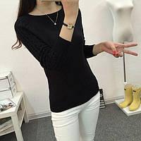 Свитер женский, кашемировый с узором на рукавах, серый, беж, черный