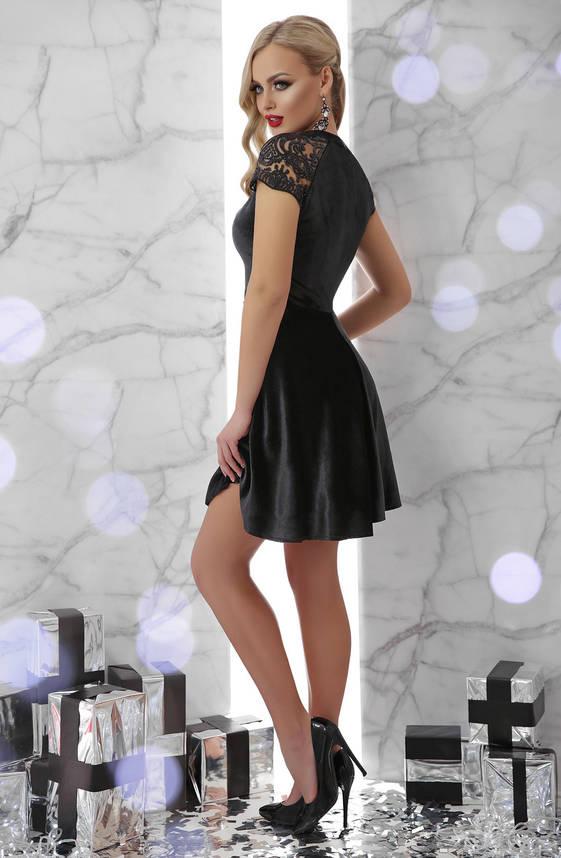 Черное платье клеш короткое велюровое, фото 2