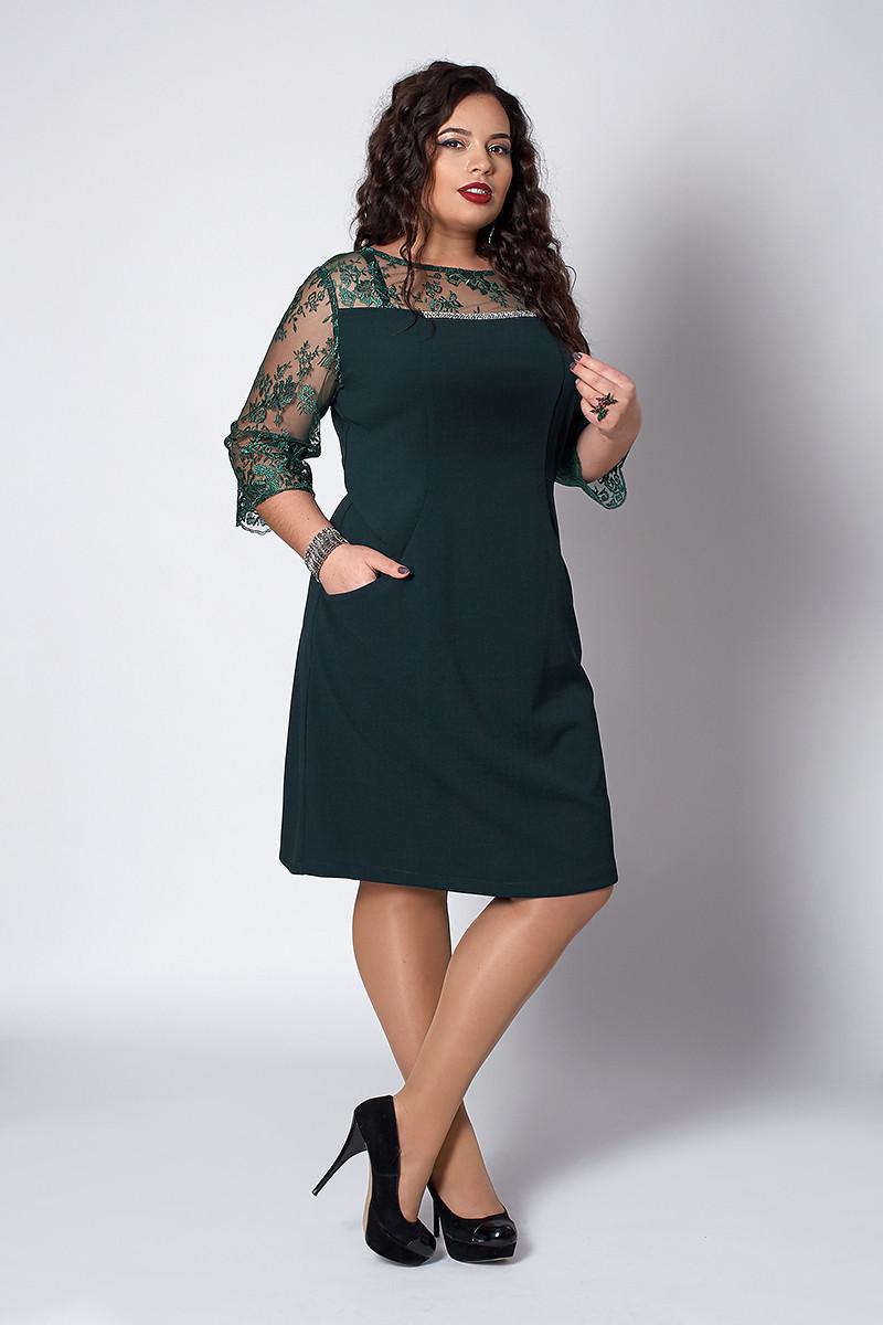 Элегантное женское платье с кружевными рукавами зеленое