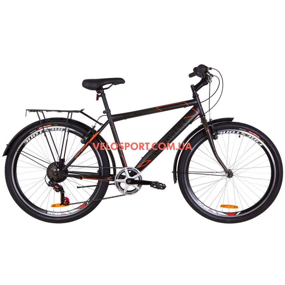 Городской велосипед Discovery Prestige Man 26 дюймов черно-оранжевый