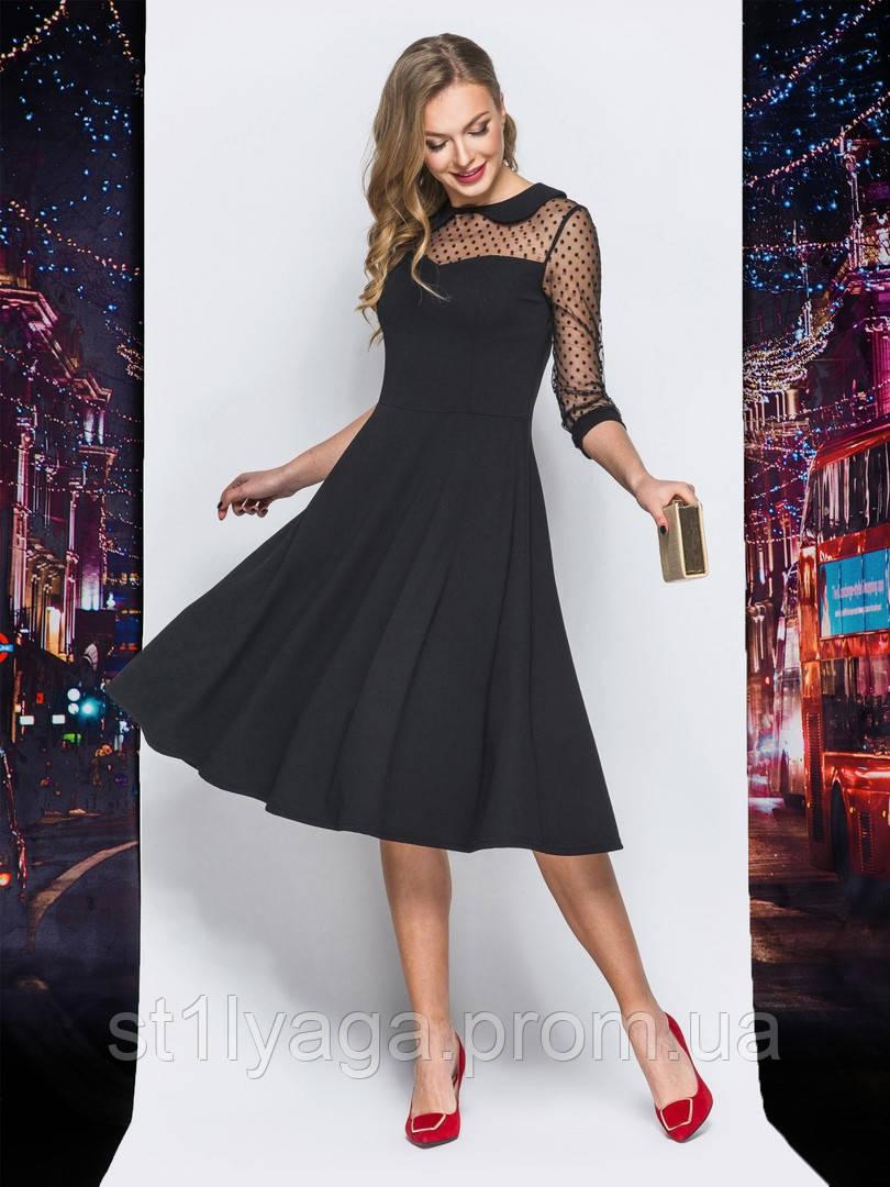e524b591cc8 Элегантное платье-миди с летящей юбкой и итонским воротничком черный ...