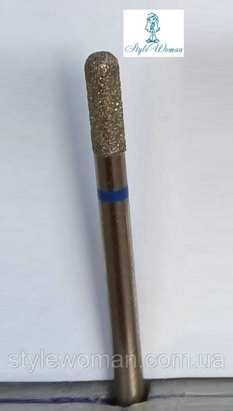Насадка фреза алмазная синяя, цилиндр закругленный
