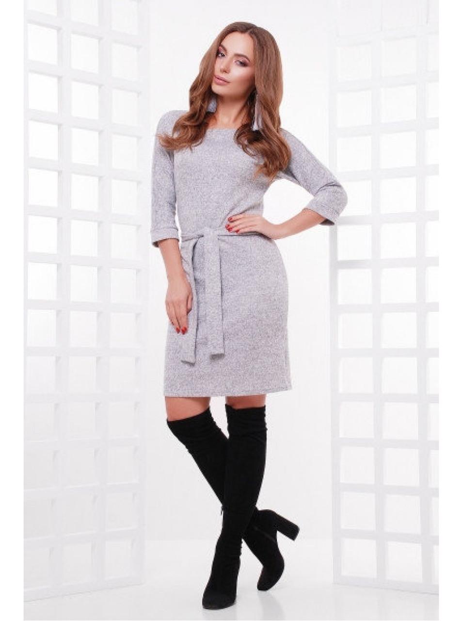 """Тёплое женское платье из ангоры с поясом """"Белли"""""""