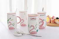 Керамическая кофейная кружка розовый фламинго, фото 1