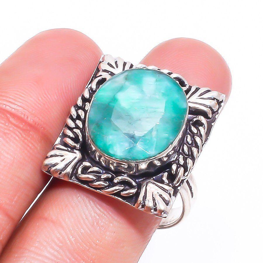 Красивое кольцо с натуральным камнем изумруд в серебре. Кольцо с изумрудом 19 размер Индия!