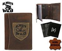 Мужской кошелёк из натуральной кожи нубук коричневого цвета Always Wild