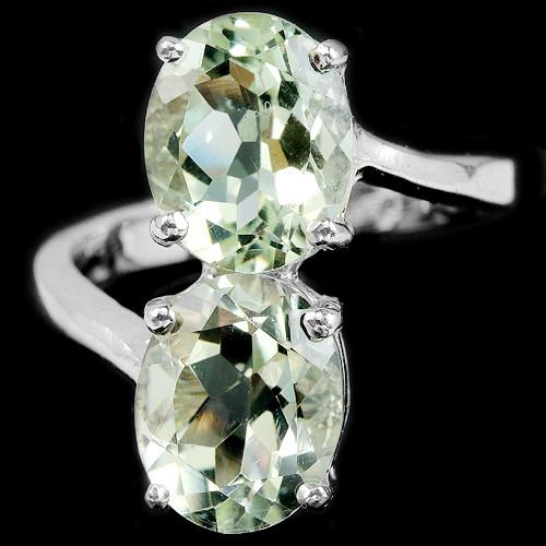 Кольцо с натуральным Зеленым Аметистом (Празиолитом)