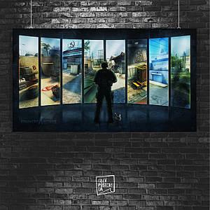 Постер Counter-Strike, CS:GO, Контрстрайк, киберспорт, КС, контра. Размер 60x34см (A2). Глянцевая бумага