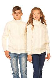 Вязаные кофты на мальчика и девочку на замке под горло