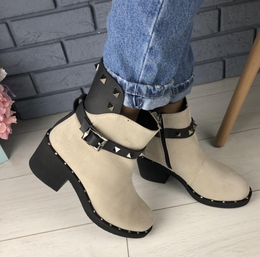 51fd658e0 Модные зимние полусапожки ботинки замшевые женские на толстом каблуке  танкетке и платформе спереди Е42EВ15-1IЕ