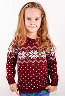 Свитер Рождественский со звездами бордовый, 116