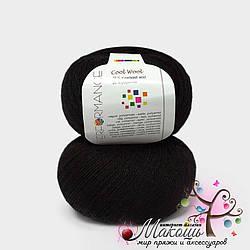 Носочная пряжа Cool wool Performance Yarn (Болгария), №01, черный