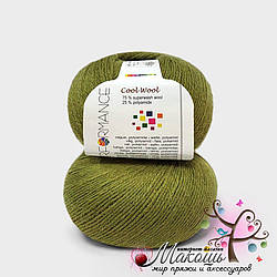 Носочная пряжа Cool wool Performance Yarn (Болгария), №, оливка